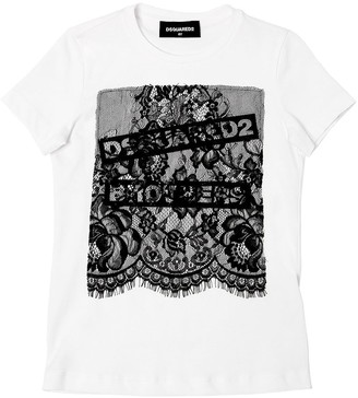 DSQUARED2 Cotton Jersey T-shirt W/ Lace Insert