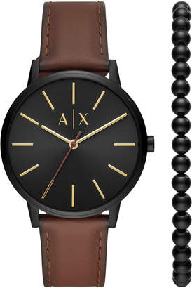 Armani Exchange Men Cayde Brown Leather Strap Watch 42mm Gift Set