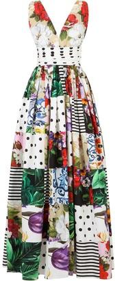 Dolce & Gabbana Mix Print Long Dress