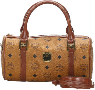 MCM Brown Visetos Leather Crossbody Bag