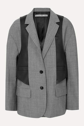 Alexander Wang Layered Wool-blend And Leather Blazer - Gray