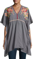Johnny Was Cherise V-Neck Embroidered Poncho Top, Dark Gray