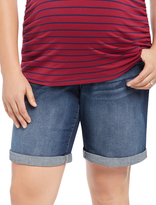 Motherhood Plus Size Secret Fit Belly Roll Hem Maternity Bermuda Shorts