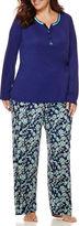 Liz Claiborne Long-Sleeve Henley and Pants Pajama Set - Plus
