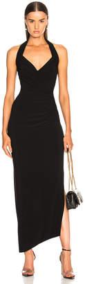 Norma Kamali Halter Sweetheart Side Drape Gown in Black | FWRD
