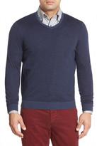 John W. Nordstrom Regular Fit Stripe V-Neck Sweater