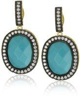 "Freida Rothman Hamptons"" Two-Tone Cubic Zirconia and Simulated Turquoise Earrings"