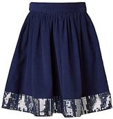 John Lewis Girls' Corduroy Sequin Skirt, Navy