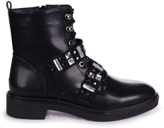 Linzi GODDESS - Black Nappa Military Boot With Velcro Embellished Front Straps