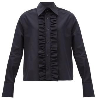 Saint Laurent Ruffled-placket Poplin Shirt - Blue