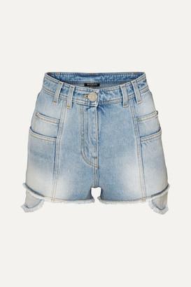 Balmain Distressed Denim Shorts - Blue