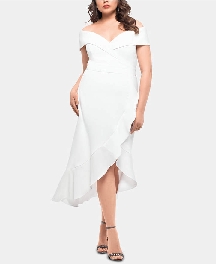 Xscape Evenings Plus Size Ruffled Off-The-Shoulder Dress