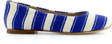 Dolce & Gabbana Ivory and blue striped linen flats