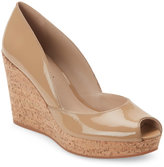 Via Spiga Nude Stam Peep Toe Cork Wedge Platform Pumps