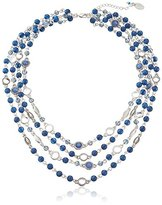 "Nine West Vintage America Bead Bounty Silver-Tone Denim Multi-Row Necklace 19"" + 2.5"" Extender"