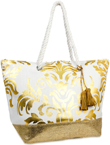 Magid Gold Scalloped Tassel-Detail Tote