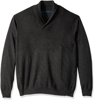 Perry Ellis Men's Big and Tall Cable Shawl Pullover Cardigan