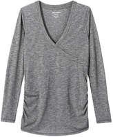 Joe Fresh Women's Crossover Active Top, Grey (Size L)