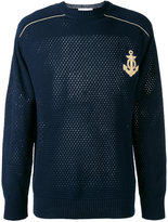 Pierre Balmain embroidered pointelle-knit sweater - men - Cotton - 48