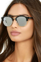 LuLu*s Polo Match Black and Silver Mirrored Sunglasses