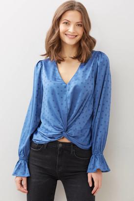 Lucy Paris Llaria Dot Twist Front Blouse Blue M