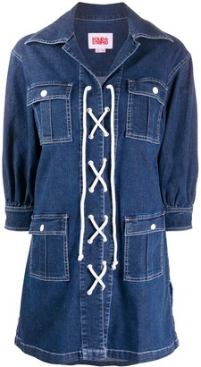 Solid & Striped Lace-Up Denim Shirt Dress