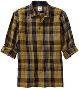 Murano Rolled-Sleeve Plaid Linen Sportshirt