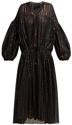 Binetti Love Striped Cotton Midi Dress - Womens - Black Stripe