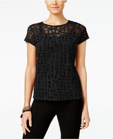 INC International Concepts Petite Illusion-Mesh Top, Only at Macy's