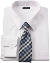 Croft & Barrow Big & Tall Classic-Fit Point-Collar Dress Shirt and Checked Tie Set