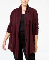 Karen Scott Plus Size Luxsoft Cable-Knit Cardigan, Only at Macy's
