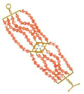 Cathy Waterman Coral & Diamond Multi Strand Bracelet