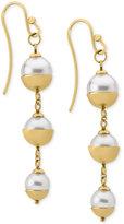 Majorica 18k Vermeil Imitation Pearl Triple Drop Earrings
