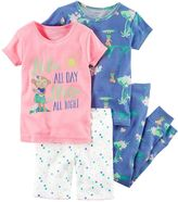 Carter's Toddler Girl 4-pc. Graphic & Print Tee, Shorts & Pants Pajamas Set