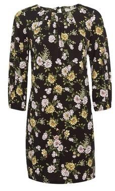 Dorothy Perkins Womens Billie & Blossom Petite Black Floral Jersey Shift Dress, Black