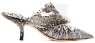 Midnight 00 Antoinette Polka-dot Tulle & Pvc Mules - Black Gold