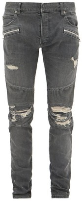 Balmain Distressed Slim-leg Biker Jeans - Mens - Grey