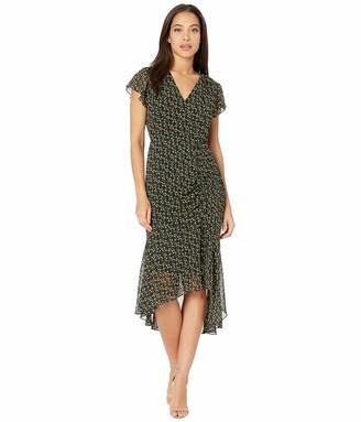 Sam Edelman Women's Short Sleeved Side Rouched Chiffon Midi Dress