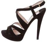 Miu Miu Suede Crossover Sandals