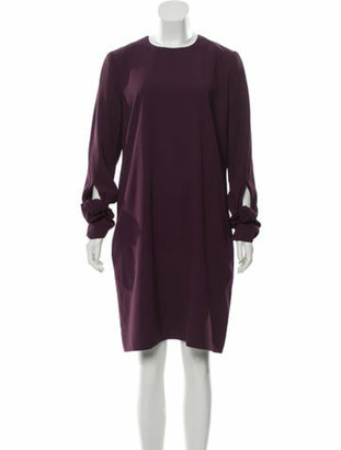 Victoria Victoria Beckham 2018 Knotted Sleeve Knee-Length Dress w/ Tags Plum