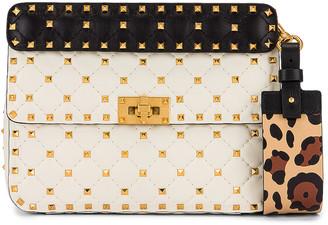 Valentino Spike It Shoulder Bag in Light Ivory & Black | FWRD