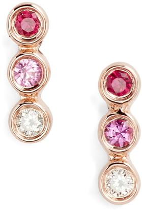 Ef Collection 14K Yellow Gold Bezet Set Diamond, Ruby, & Pink Sapphire Trio Stud Earrings