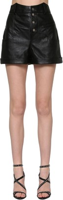 Saint Laurent Western Waist Leather Shorts