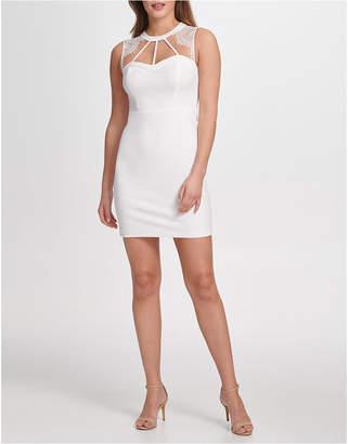 GUESS Lace-Trim Cutout Bodycon Dress