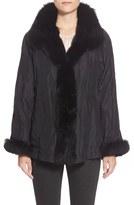 George Simonton Reversible Silk & Genuine Fox Fur Topper