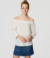 LOFT Petite Striped Off the Shoulder Shirt