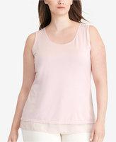 Lauren Ralph Lauren Plus Size Sheer-Hem Jersey Tank Top