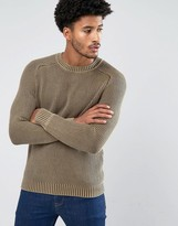 Mango Man Contrast Knit Jumper In Beige