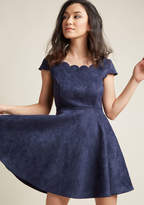 ModCloth Faux-Suede Skater Dress with Scalloped Neckline in XL - Cap A-line Mini