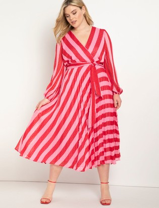 ELOQUII Wrap Dress with Full Sleeves
